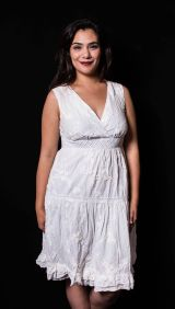 """ITEM CODE: 35-52 PRICE: P350 L (TAG SIZE), COTTON, POLYESTER BUST: 40"""" ARMHOLE: 18"""" EMPIRE WAIST: 34"""" HIPS: 44"""" LENGTH: 41"""""""